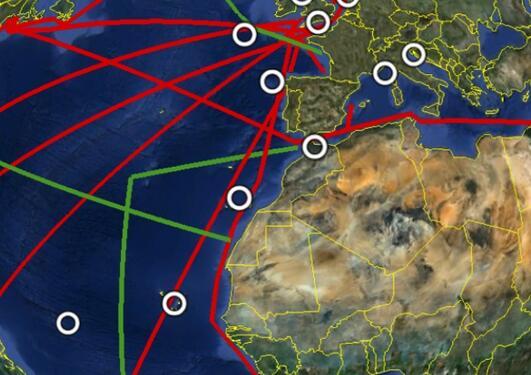 Nettverk av målestasjoner. Ringene er faste målestasjoner, de røde linjene er skipslinjer, og de grønne er gjentakende linjer. Illustrasjon fra ICOS-OTC