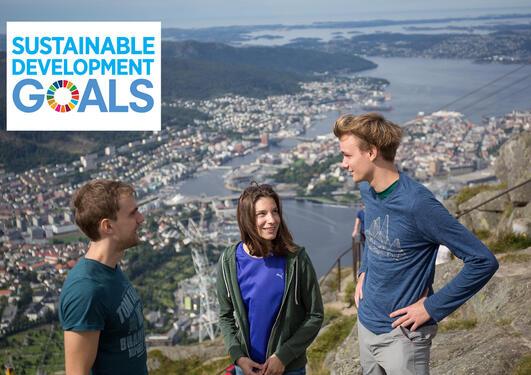 Studenter på fjellet Ulriken med Bergen sentrum i bakgrunnen.
