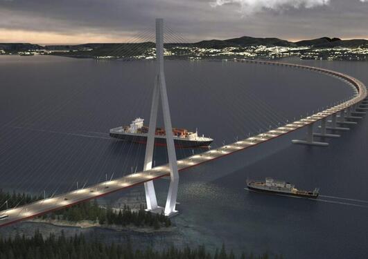 Illustrasjon av flytebro - Statens vegvesen