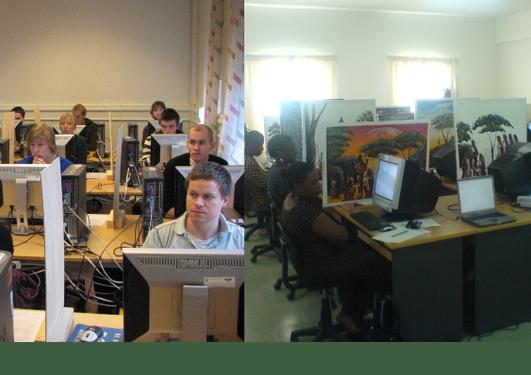 Bilder tatt under eksperimentet med studenter i Bergen og i Tanzania