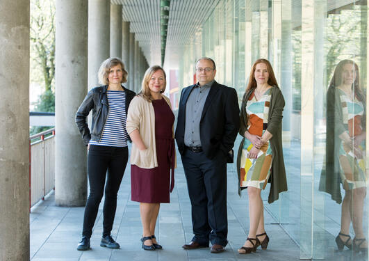 Political scientist Hakan G. Sicakkan, anthropologists Christine M. Jacobsen and Synnøve Bendixsen and sociologist Susanne Bygnes of the Bergen International Migration and Ethnic Relations Research Unit (IMER), photo shot in May 2018.