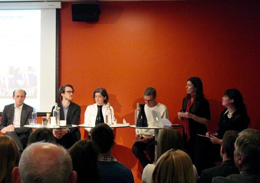 Open seminar at the house of literature april 3rd. From left: prof. Karl Harald Søvig, political advisor Andreas Borud, prof. Claire Breen, prof. Marit Skivenes and PhD student and moderator, Line Marie Sørsdal