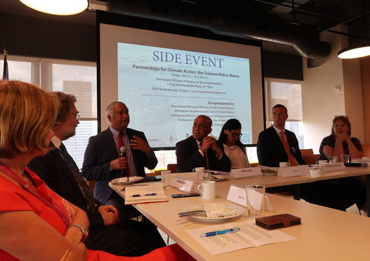 The panel at the side event Partnerships for Climate Action hosted by the Norwegian Mission to the United Nations on 12 July 2019 as part of the High-level Political Forum.