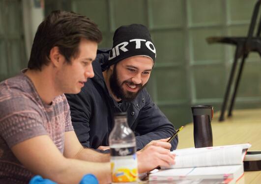 To mannlige studenter som leser sammen