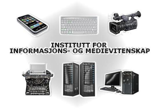 Bilde av ulike medieverktøy: mobiltelefon, tastatur, filmkamera og datamaskin.