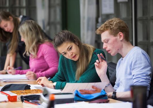 Ingeniørutdanning er noe du kan ta ved UiB. Her et illustratsjonsbilde av studenter som arbeider og diskuterer fag.