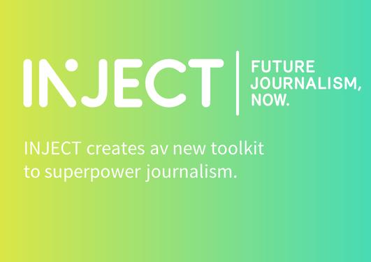 Logo av INJECT. Forskere fra Universitetet i Bergen skal hjelpe fremtidens journalister ved å utvikle digitale verktøy.