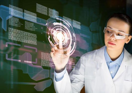Female doctor and futuristic screen