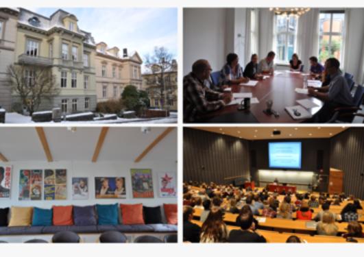 Fire bilder av instituttet: bygningen, møterommet, pauserommet og forelesningssal