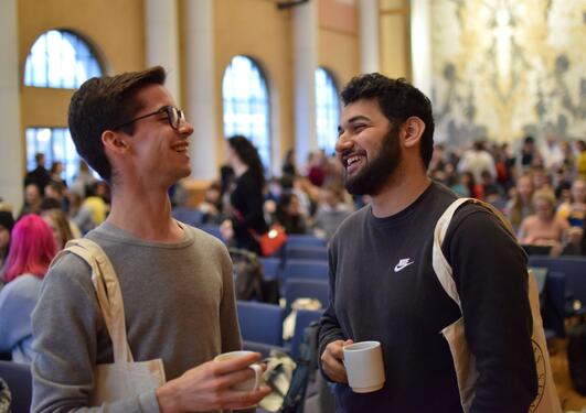 International students in the university aula