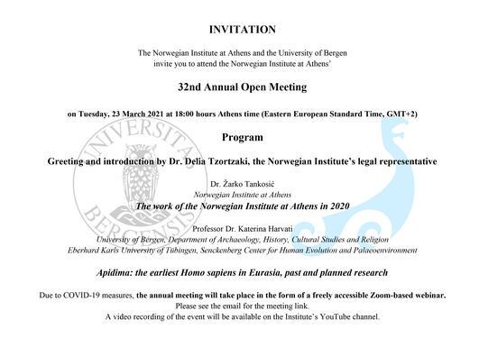 Invitation, NIA annual open meeting