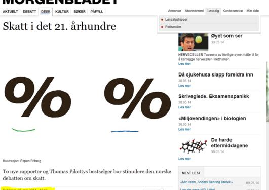 Et screenshot av artikkelen fra Morgenbladets nettsider