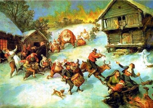 Bilde med julemotiv av nisser
