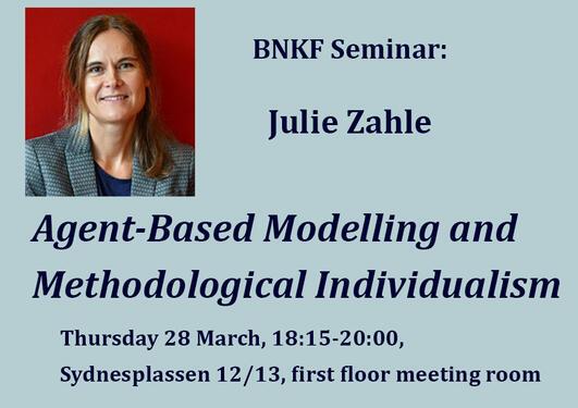 Picture of Julie Zahle og title og the seminar and information of location