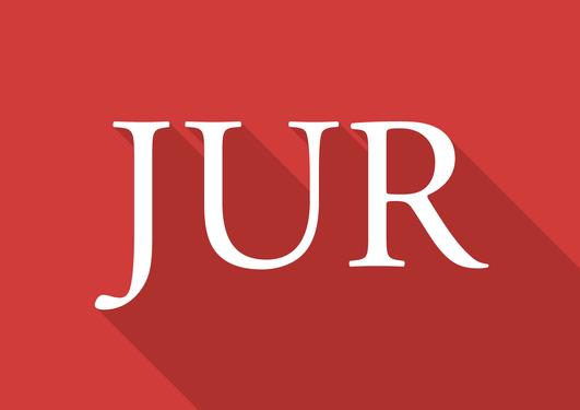 Logoen for Juridisk fakultet. Det står JUR i hvit skrift på rød bakgrunn.