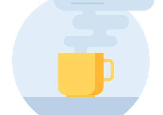 illustrasjon med en kaffekopp det ryker av