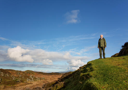 Professor Peter Emil Kaland of UiB's Department of Biology at the Heathland Centre at Lygra north of Bergen.
