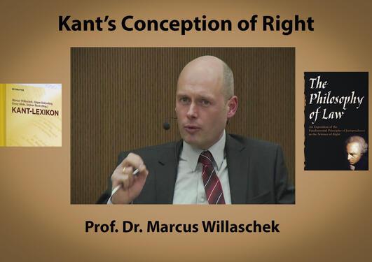Collage med tekst satt sammen av bilde av Marcus Willaschek, Kant-lexicon og Kants The philosophy of law
