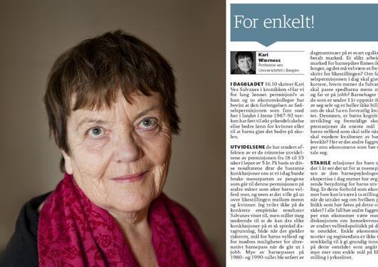 Kari Wærness med kommenatr i Dagbladet