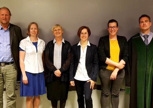 Karin Landschulze med komité, veileder og leder for disputas