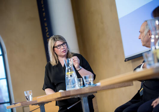 Climate researcher Kikki Kleiven from the University of Bergen chairing one of the panels at the inaugural 2018 SDG Conference Bergen in February 2018.