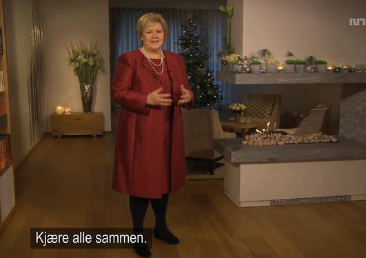 Et bilde av Erna Solberg som holder sin nyttårstale 2013