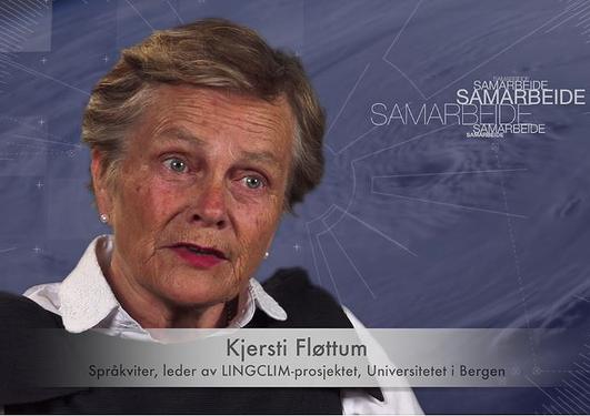 """Bilde av Kjersti Fløttum. Fra filmen """"Når vi snakker om klima"""""""