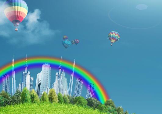 bilde av regnbue og ballonger
