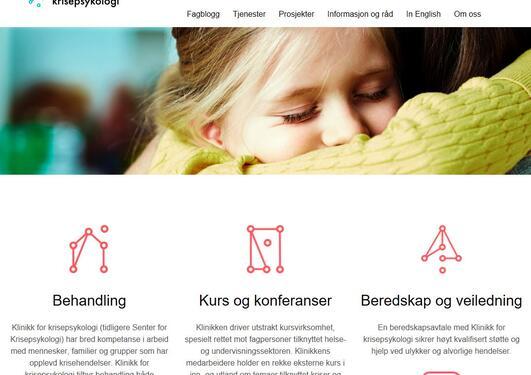 Nettsiden Klinikk for krisepsykologi