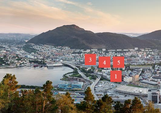 Oversiktsbilde av Bergen med markeringer for fysisk plassering av klyngene.