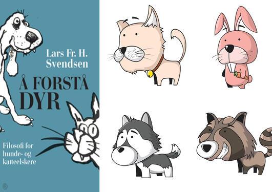 Bilde av bokomslaget samt fire tegneseriefigurer av dyr