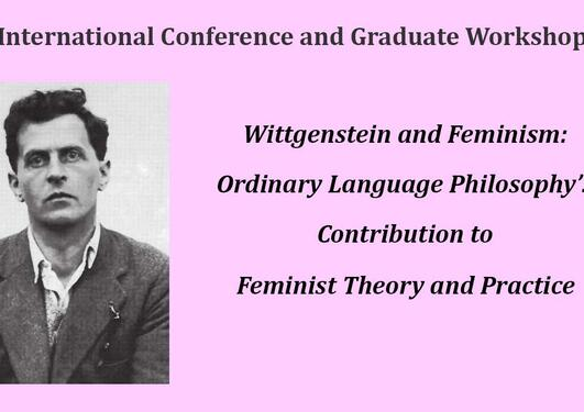 Title of the confernce and a picture of Wittgenstein