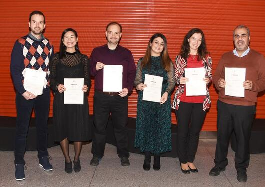 The new dentists from left to right Ognien Njamculovic, Pernille Kate Go, Anas Alsaadi, Sazan Fahkir Fake, Ardita Aliko and Redor Askan.