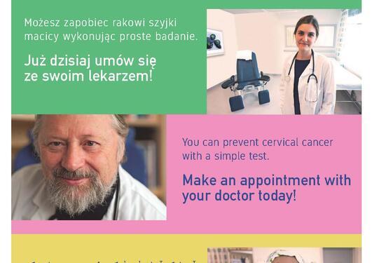 Plakat på flere språk om oppfordring å bestille time hos lege i dag