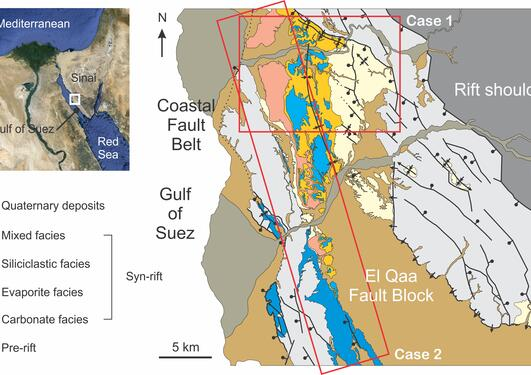 Simplified map of the El Qaa Fault Block, Sinai, Egypt