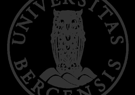 UiB sin logo, sirkel med ugle i midten, svart mot hvitt