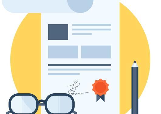 illustrasjon med en konbtrakt, en penn og et par briller