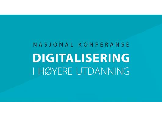 Blå plakat med teksten Nasjonal konferanse Digitalisering i høyere utdanning