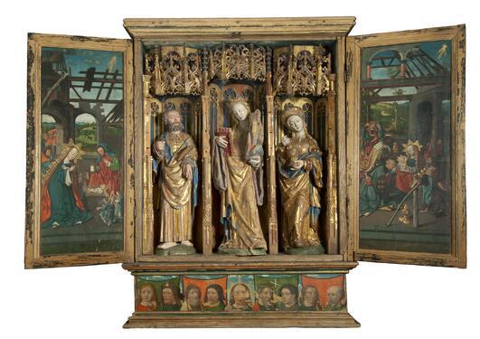 Alterskapet fra Austevoll, ca. 1520, med St. Sunniva i midten