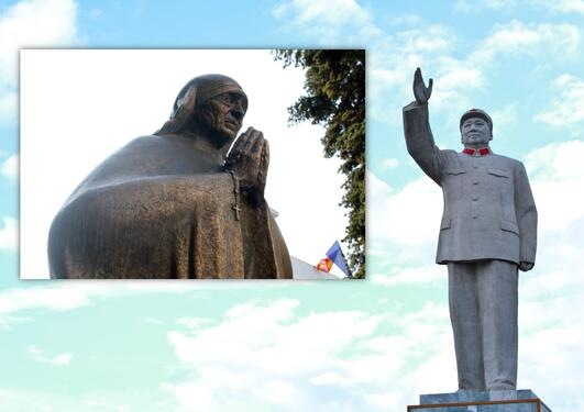Mao og Mother Theresa statues in Yunnan, China and Skopje, Macedonia.