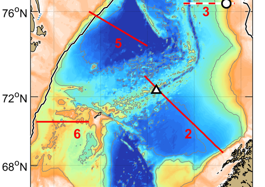 Map of Nordic Seas showing location of NorEMSO components