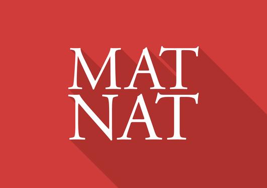 Mat.-nat.-fakultetet sin logo. Det står MAT-NAT i hvit skrift på rød bakgrunn.