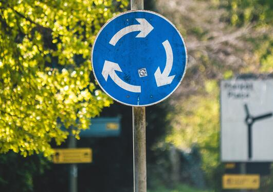 Traffic sign illustrating circular economy