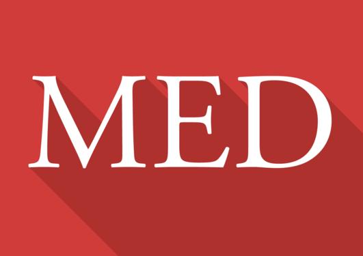 Fakultetslogoen for MED. Det står MED i hvit skrift på rød bakgrunn.