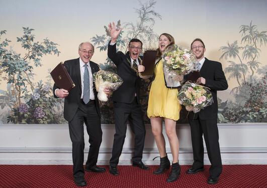 The Meltzer Award 2015 winners, left to right: Trond Markestad, UiB Rector Dag Rune Olsen, Katrine Løken and Harald Barsnes.
