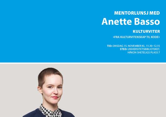 Mentorlunsj, alumnimentor, Anette Basse, kulturviter