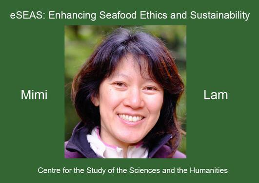 "Mimi Elizabeth Lamog tittelen på foredraget hennes: ""eSEAS: Enhancing Seafood Ethics and Sustainability"""