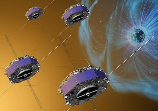 Illustration of the four MMS spacecraft in orbit in Earth's magnetic field.