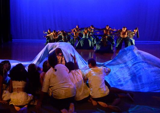 "Dancers in a scene in ""Moana: The Rising of the Sea""."