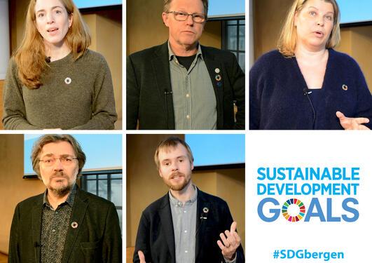 Fotomontasje av de fem moderatorene på Bærekraftskonferansen 2018 i Bergen